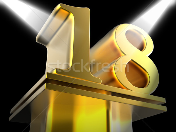 Golden Eighteen On Pedestal Shows Success Recognition Or Excelle Stock photo © stuartmiles