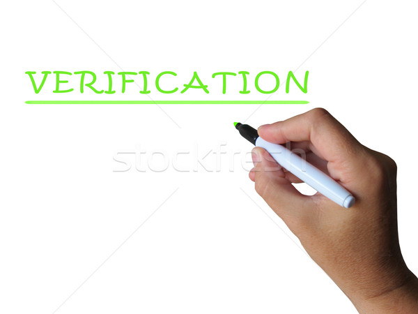 Verification Word Shows Evidence Authentication And Proof Stock photo © stuartmiles