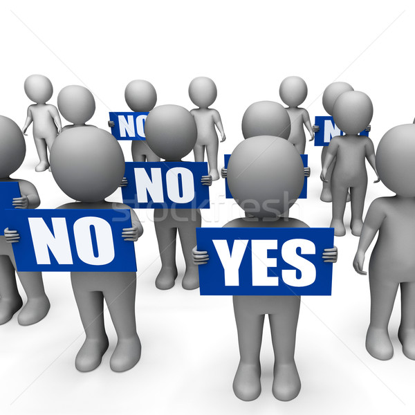 Characters Holding No Yes Signs Show Indecision Or Confusion Stock photo © stuartmiles
