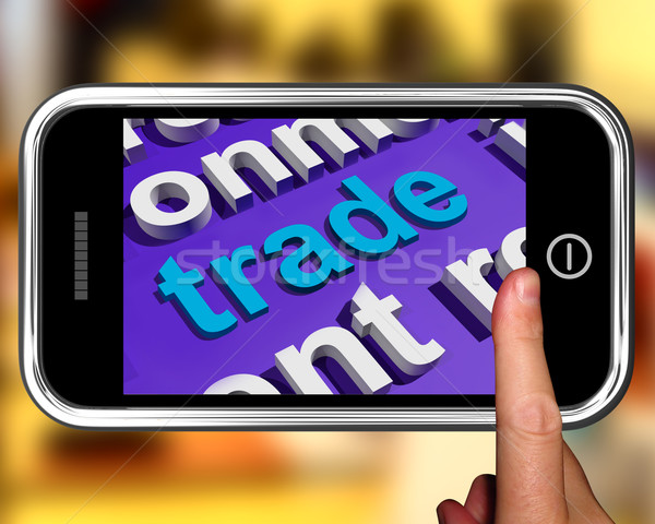 Trade In Word Cloud Phone Shows Online Buying And Selling Stock photo © stuartmiles