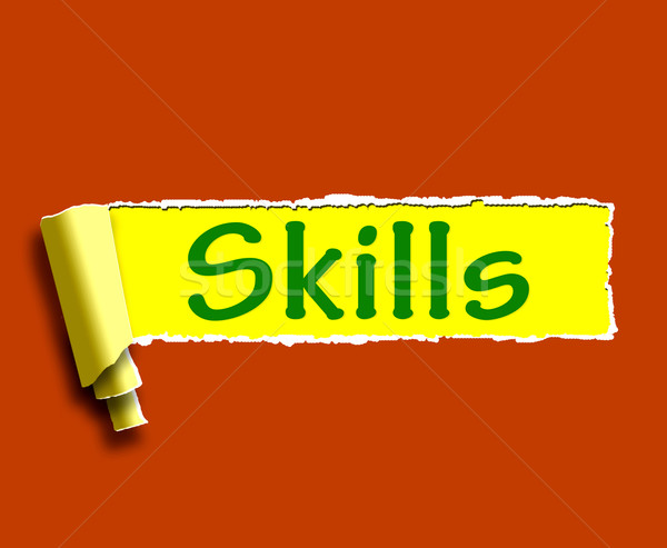 Skills Word Shows Training And Learning On Web Stock photo © stuartmiles