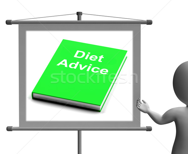 Diet Advice Book  Sign Shows Weight loss Knowledge Stock photo © stuartmiles