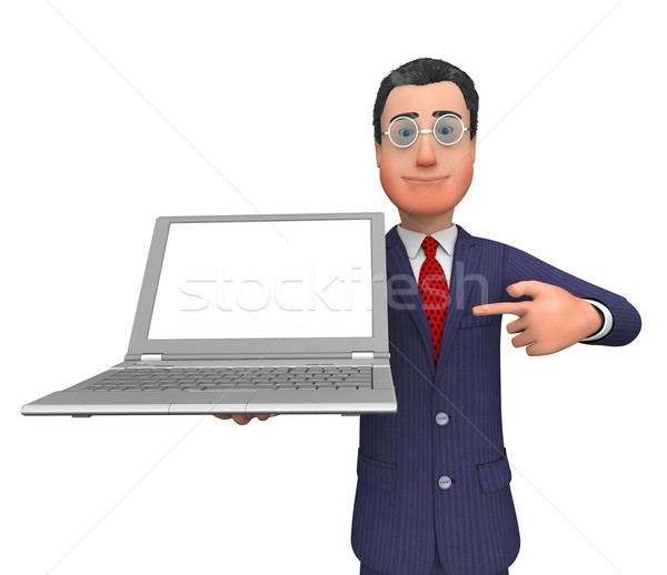 Businessman Presenting Shows Empty Space And Businessmen Stock photo © stuartmiles