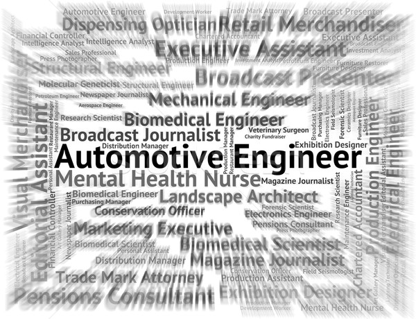 Automotive Engineer Shows Mechanics Words And Text Stock photo © stuartmiles
