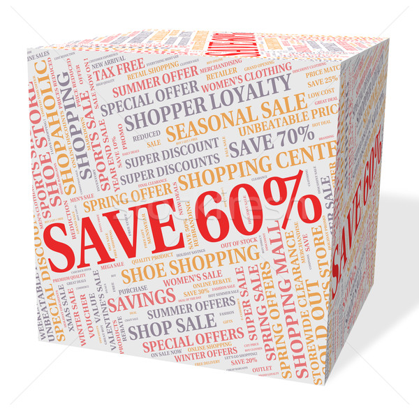 Sixty Percent Off Indicates Text Save And Sales Stock photo © stuartmiles