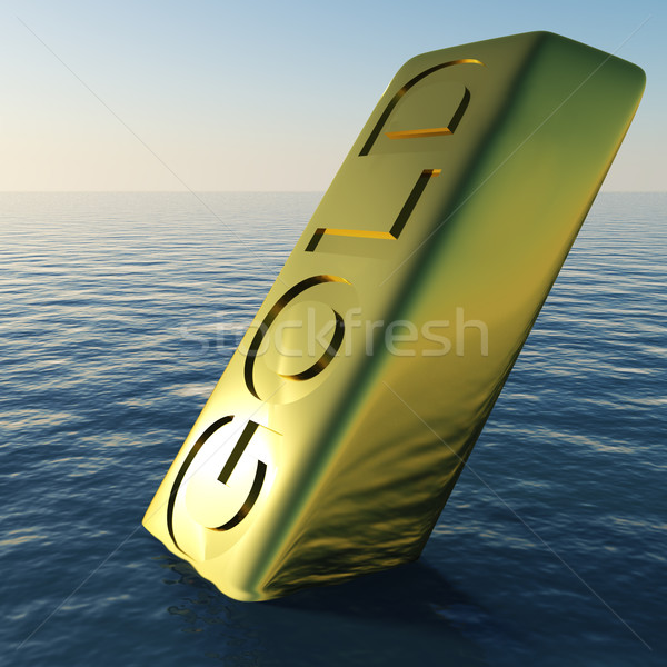 Stock photo: Gold Bar Sinking Showing Depression Recession And Economic Downt