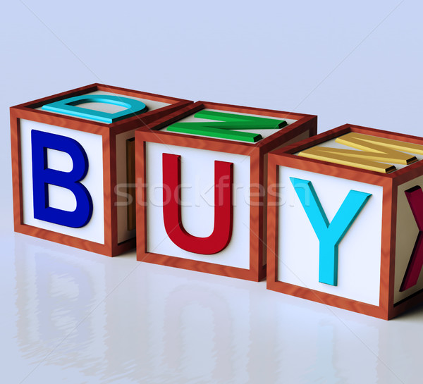 Blocks Spelling Buy As Symbol for Commerce And Purchasing Stock photo © stuartmiles