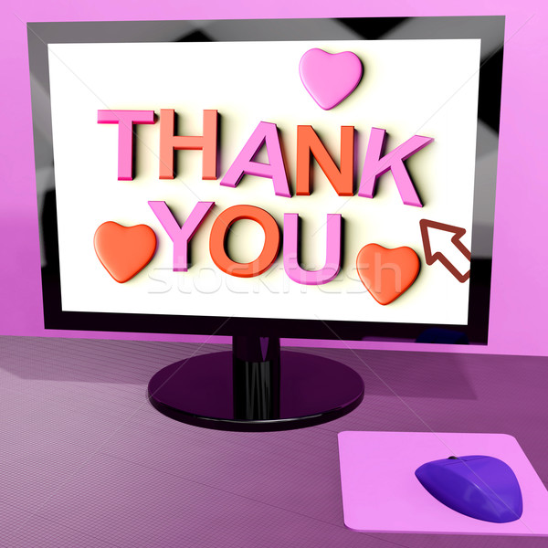 Thank You Message On Computer Screen Showing Online Appreciation Stock photo © stuartmiles