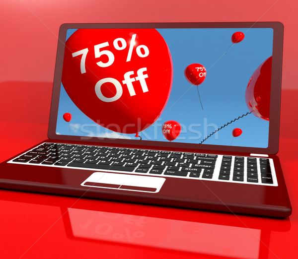 75% Off Balloons On Computer Showing Discount Of Seventy Five Pe Stock photo © stuartmiles