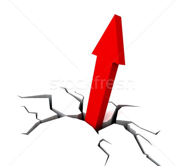 Red Upward Arrow Shows Breakthrough Stock photo © stuartmiles