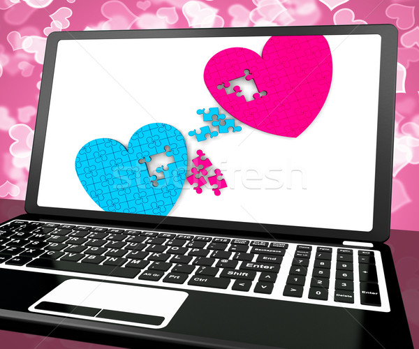 Two Hearts On Laptop Shows Love And Commitment Stock photo © stuartmiles