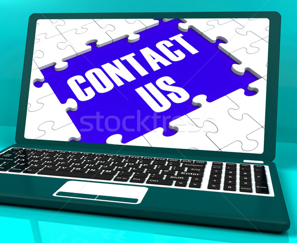 Contact Us On Laptop Shows Website Support And Assistance Stock photo © stuartmiles
