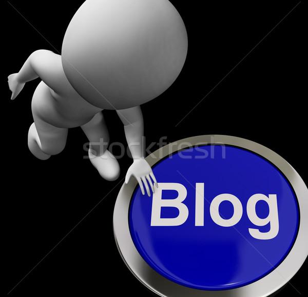 Blog przycisk blogger blogging internetowych strony internetowe Zdjęcia stock © stuartmiles