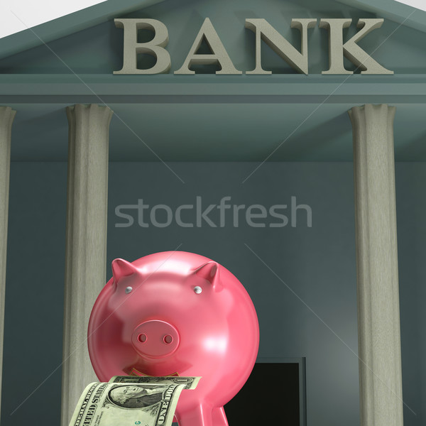 Piggybank On bank Showing Safety Saving Stock photo © stuartmiles