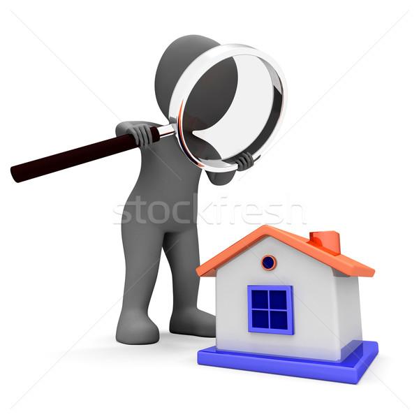 Huis karakter zoeken naar home tonen Stockfoto © stuartmiles