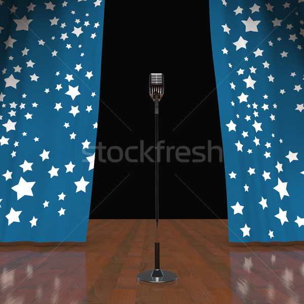 Microphone On Stage Shows Concert Or Talent Show Stock photo © stuartmiles