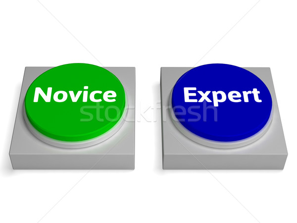 Novice Expert Buttons Shows Beginner And Expertise Stock photo © stuartmiles