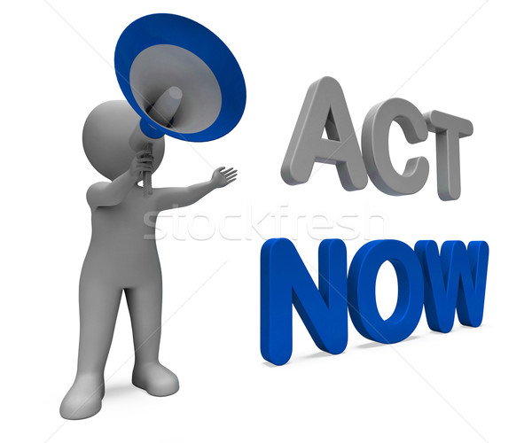 Acte maintenant personnage motivation action Photo stock © stuartmiles