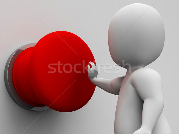 Man Pushing Blank Red Button Shows Control Stock photo © stuartmiles