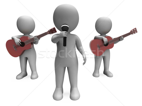 Singer And Guitar Players Shows Band Concert Or Performing Stock photo © stuartmiles
