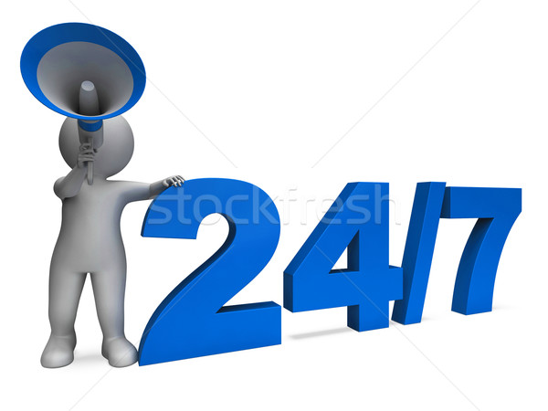 Twenty Four Seven Character Means All Week Or Seven Days Stock photo © stuartmiles