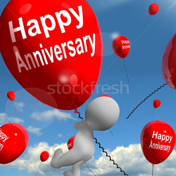 Happy Anniversary Balloons Shows Cheerful Festivities and Partie Stock photo © stuartmiles