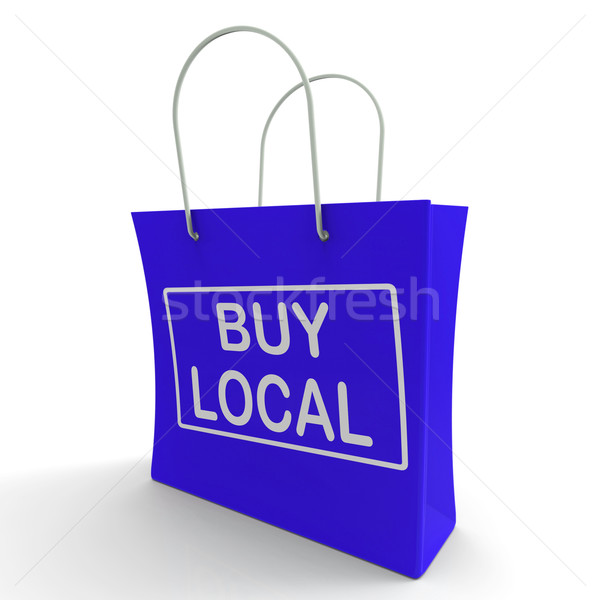 Buy Local Shopping Bag Shows Buying Nearby Trade Stock photo © stuartmiles