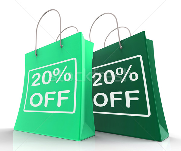 Twenty Percent Off On Shopping Bags Shows 20 Bargains Stock photo © stuartmiles