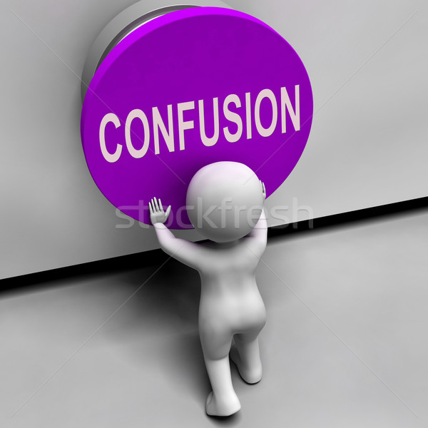 Confusion Button Means Puzzled Bewildered And Perplexed Stock photo © stuartmiles