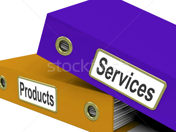 Services Products Folders Show Business Service And Merchandise Stock photo © stuartmiles
