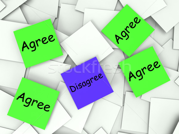 Agree Disagree Post-It Notes Show Supporting Or Contrary To Stock photo © stuartmiles
