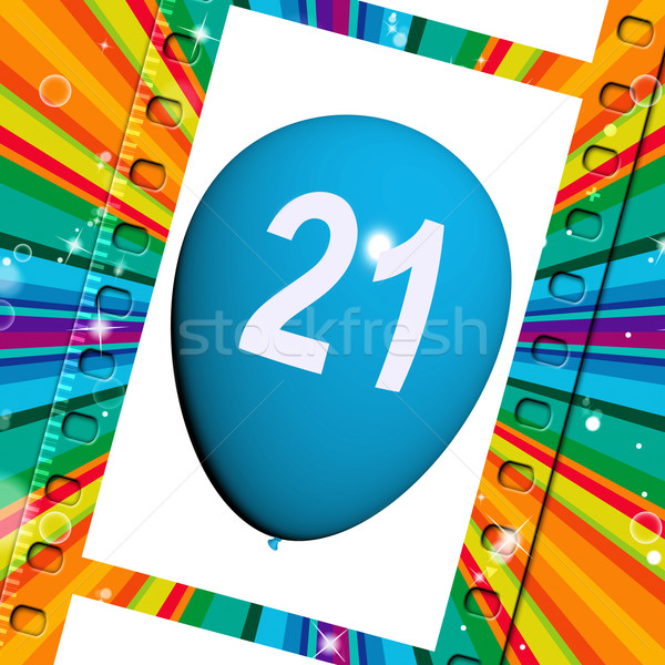 Balloon Shows Twenty-first Happy Birthday Celebrations Stock photo © stuartmiles