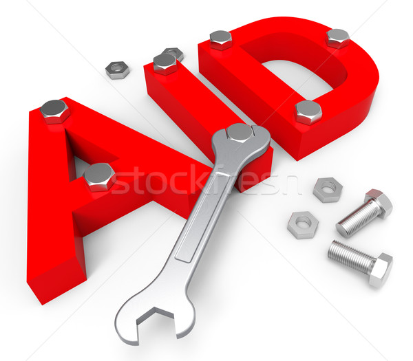 Aid Word Indicates Volunteer Charity And Assistance Stock photo © stuartmiles