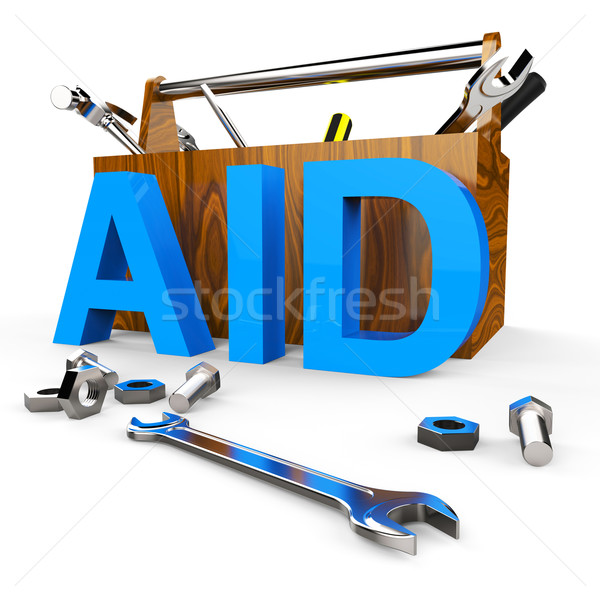 Aid Word Shows Assist Aiding And Donations Stock photo © stuartmiles
