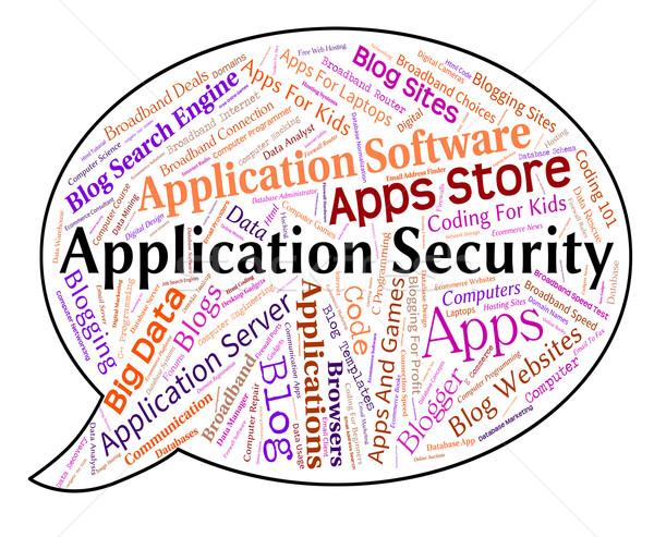 Toepassing veiligheid woord beperkt toepassingen woorden Stockfoto © stuartmiles