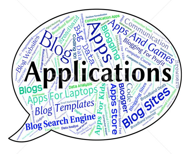 Toepassingen woord software programma apps computers Stockfoto © stuartmiles