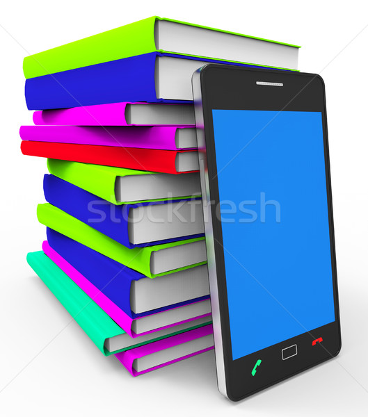 Phone Knowledge Online Indicates World Wide Web And Book Stock photo © stuartmiles