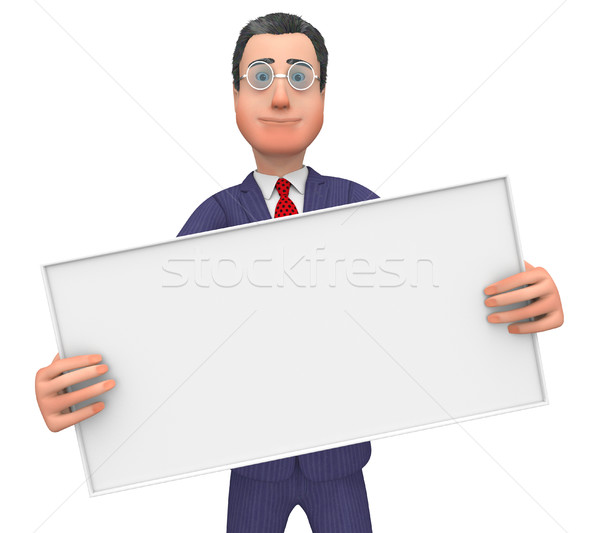 Businessman With Signboard Shows Text Space And Announce Stock photo © stuartmiles