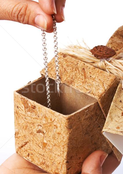 Kolye hediye çekici hediye kutusu sevmek kutu Stok fotoğraf © stuartmiles
