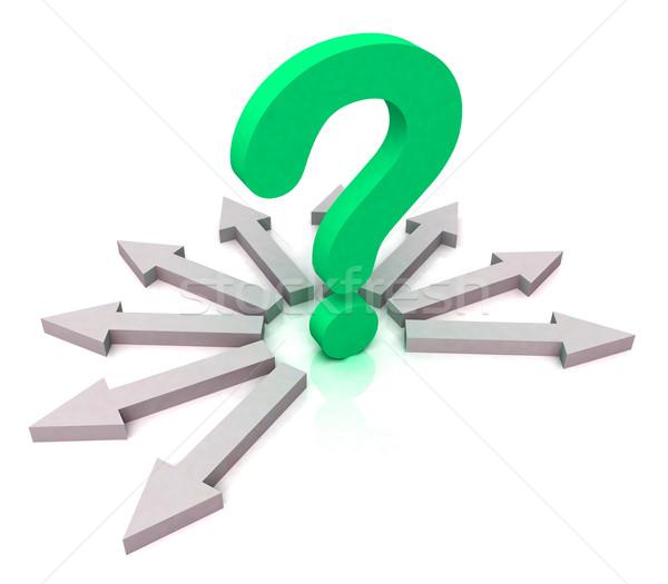 Arrows Surrounding Green Question Shows Choice Stock photo © stuartmiles
