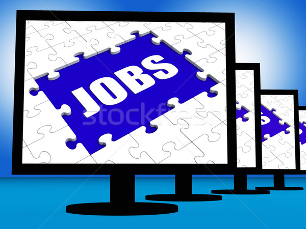 Jobs On Monitors Shows Jobless Employment Or Hiring Online Stock photo © stuartmiles