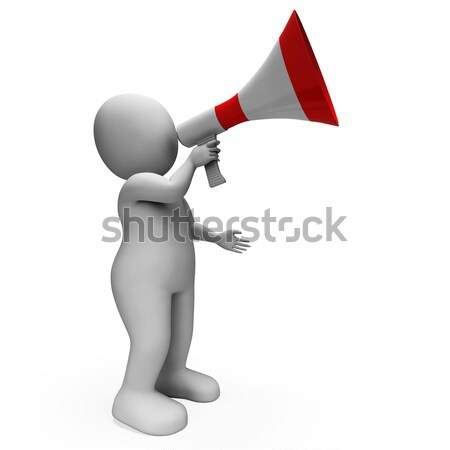 Megaphone Character Shows Announcing Speech Explaining And Loud  Stock photo © stuartmiles