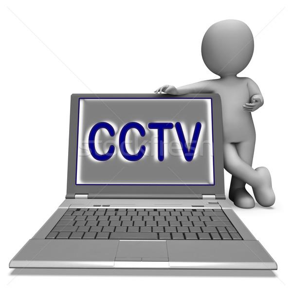 CCTV Laptop Shows Surveillance Protection Or Monitoring Online Stock photo © stuartmiles