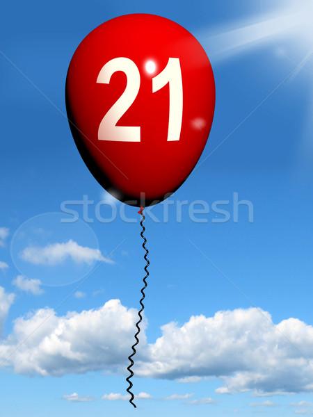 21 Balloon Shows Twenty-first Happy Birthday Celebration Stock photo © stuartmiles