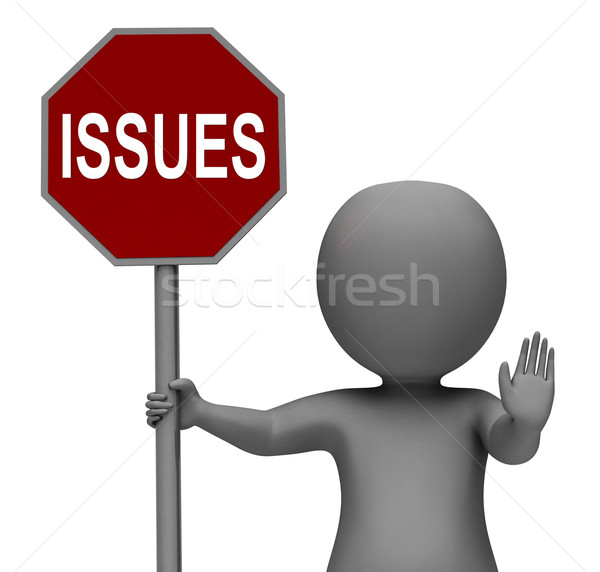 Issues Stop Sign Shows Stopping Problems Difficulty Or Troubles Stock photo © stuartmiles