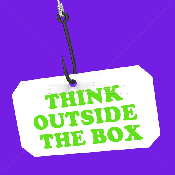 Think Outside The Box On Hook Shows Imagination And Creativity Stock photo © stuartmiles