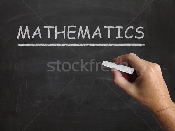 Matematika iskolatábla mértan számtan statisztika jelentés Stock fotó © stuartmiles
