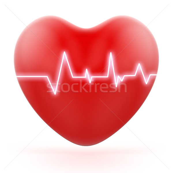 Electro On Heart Shows Love Pressure Or Loud Heartbeats Stock photo © stuartmiles