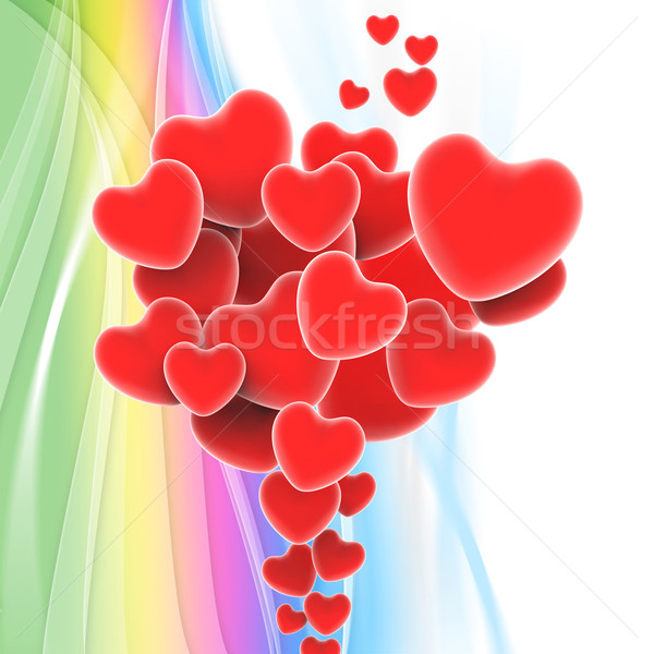 Bunch Of Hearts Shows Loving Relationship And Marriage Stock photo © stuartmiles