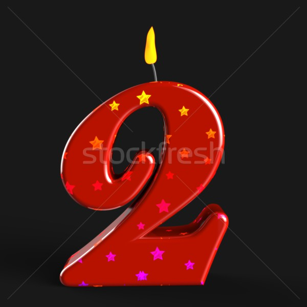 Number Two Candle Means Second Birthday Or Celebration Stock photo © stuartmiles